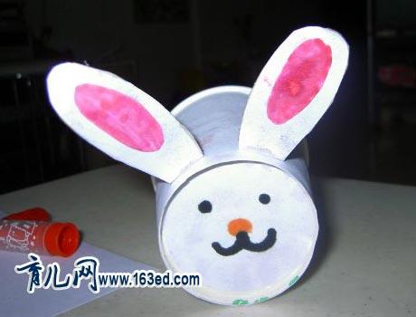 幼儿纸杯手工制作:小白兔