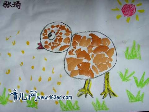 幼儿手工制作 蛋壳贴画1