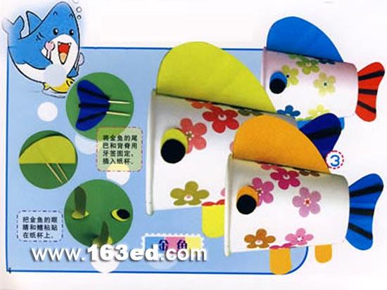 幼儿手工制作:可爱的纸杯小鱼