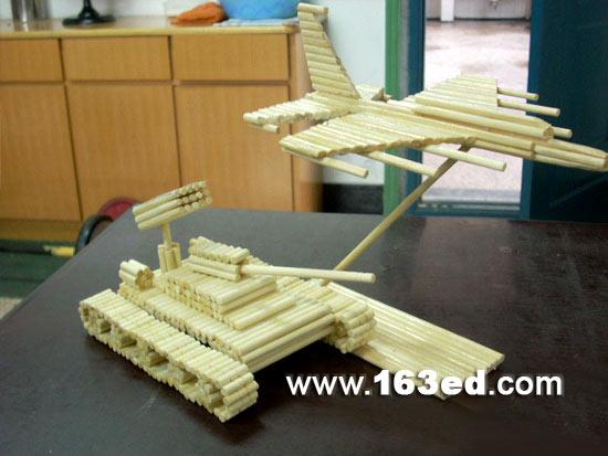 幼儿手工制作:筷子手工坦克和飞机