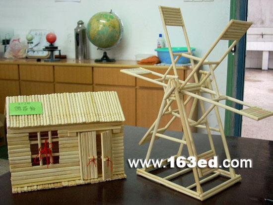 幼儿手工制作:筷子手工小屋和风车