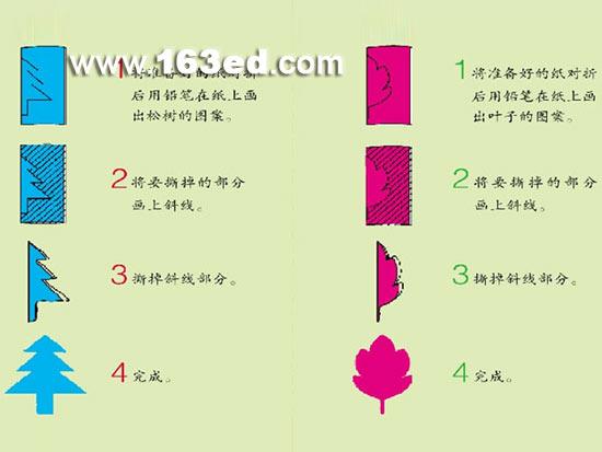 幼儿园撕纸手工教程:松树和叶子