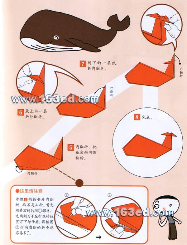 鲸2—折纸大全,手工制作网; 幼儿手工折纸图解:鲸鱼2—儿童手工制作网