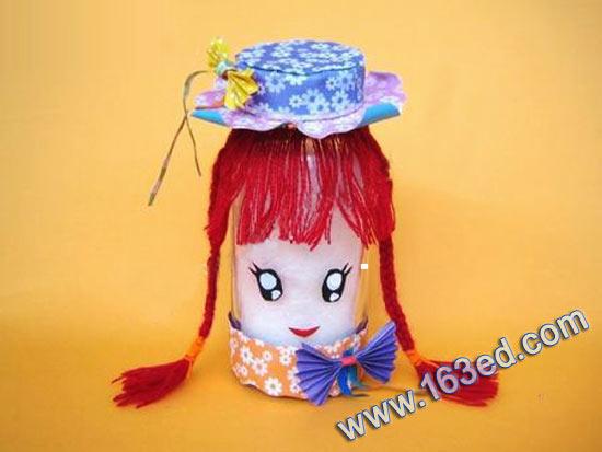 幼儿废旧手工制作:瓶子娃娃3—儿童手工制作网