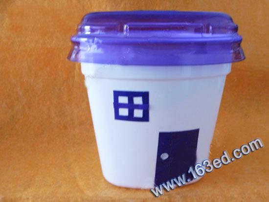 幼儿废旧物品手工制作:酸奶瓶房子—儿童手工制作网