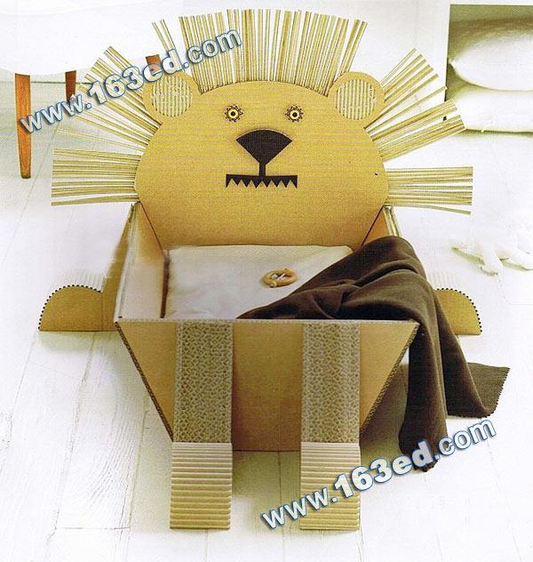 幼儿手工制作的瓦楞纸狮子收纳盒—儿童手工制作网