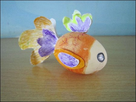 鸡蛋壳手工制作的小金鱼图片