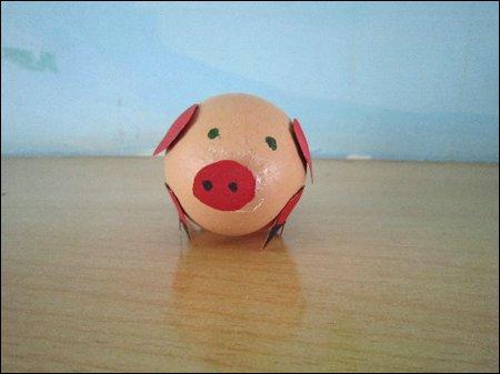 蛋壳手工 小猪图片