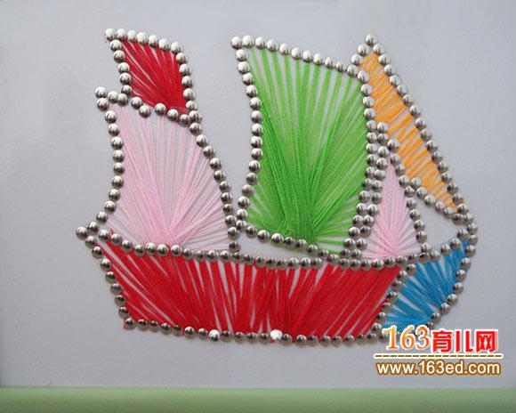 废旧物品手工小制作 图钉帆船