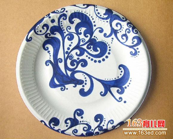 纸盘手工画图片:青花瓷—儿童手工制作网