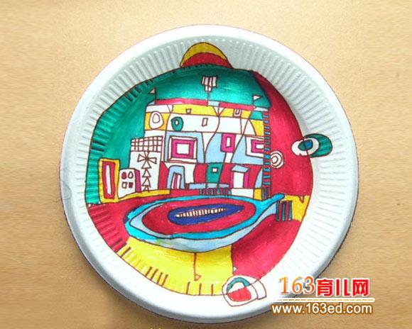 纸盘手工画图片:美丽城市—儿童手工制作网
