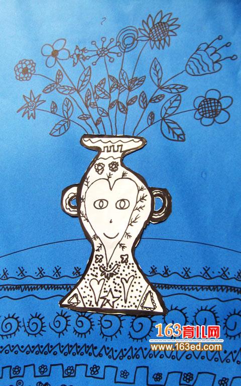幼儿卡纸手工制作:漂亮的花瓶1—儿童手工制作网