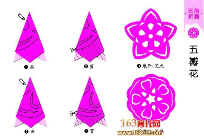 幼儿剪纸 五瓣花图案3