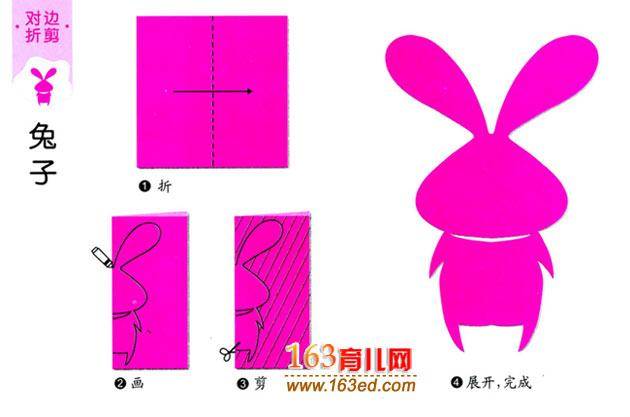 儿童剪纸教程图解 长耳朵兔子