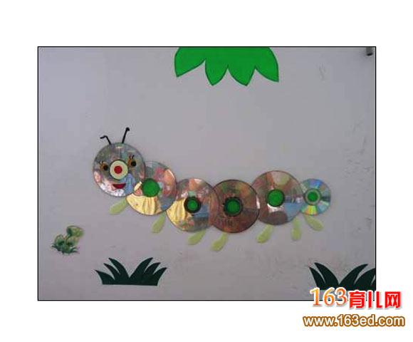 幼儿手工:废旧光盘制作毛毛虫