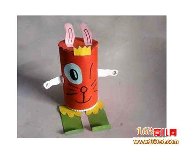 幼儿手工:废旧纸杯制作小动物2