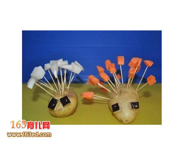 幼儿手工:土豆制作的刺猬—儿童手工制作网