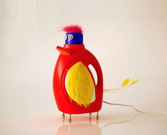 废旧物品手工制作:油瓶大公鸡