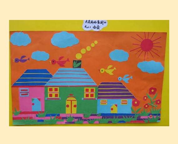 废旧物品手工:贴纸画乡村-儿童手工制作网