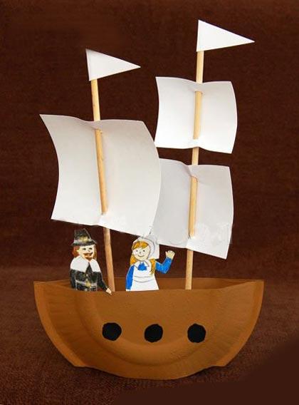 幼儿手工:用纸盘制作海盗船和帆船