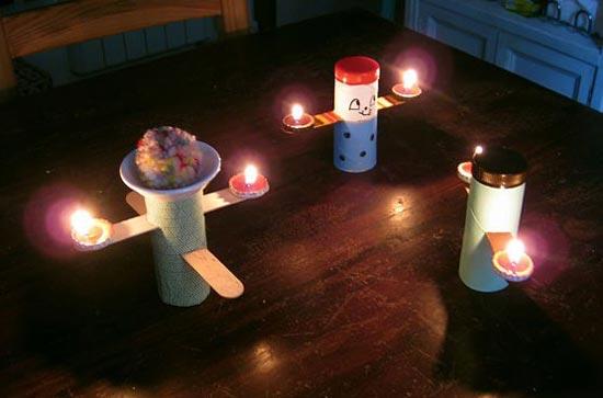 幼儿手工:用废旧纸筒制作的小烛台