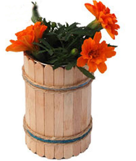 废旧物品手工:雪糕棒制作的花盆