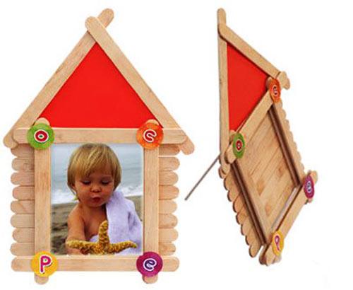 幼儿小手工 雪糕棒制作相框或挂饰