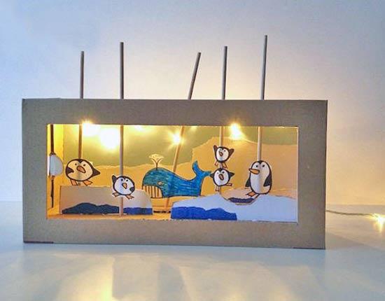 幼儿小手工:鞋盒废物利用制作企鹅