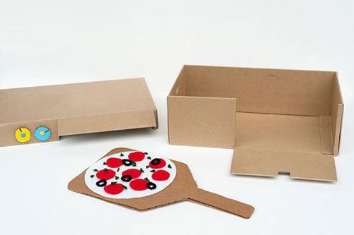 幼儿手工:鞋盒子制作披萨烤箱