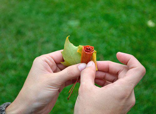 幼儿手工:红色树叶制作玫瑰花