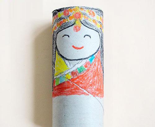幼儿手工:废旧卷纸筒制作少数民族娃娃—儿童手工制作
