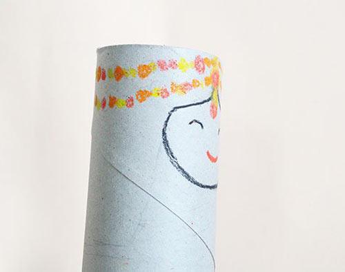 幼儿手工:废旧卷纸筒制作少数民族娃娃