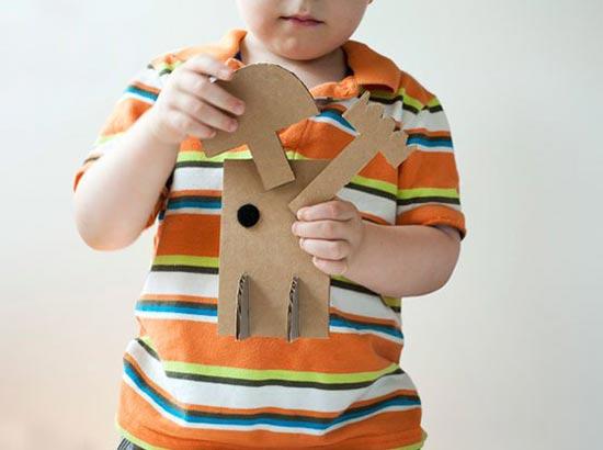 儿童手工教学:瓦楞纸板制作的拼插机器人