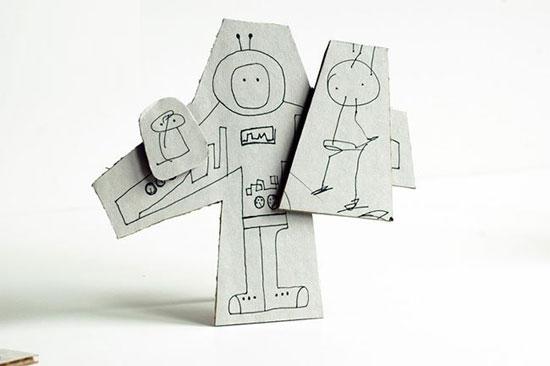 幼儿废旧利用手工:纸箱制作可站立的涂鸦板—儿童