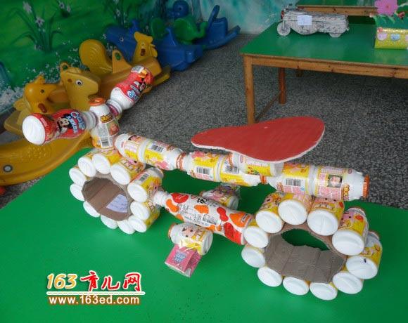 塑料瓶做的自行车_儿童废旧物品小手工—儿童手工制作