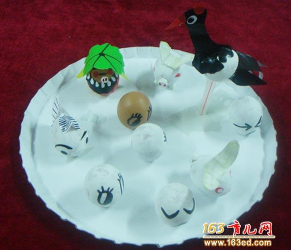 蛋壳做的小鸟 儿童废旧物品小手工图片