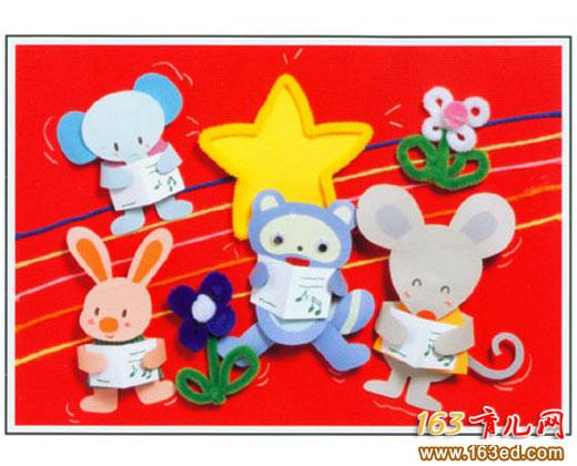 卡纸小动物_儿童卡纸小手工作品
