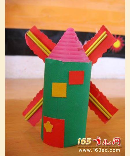 纸筒做的荷兰风车_儿童变废为宝手工制作
