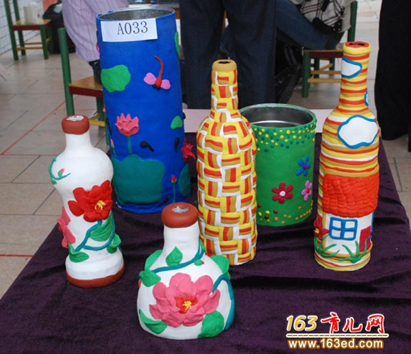 泥塑花瓶作品_泥塑做的花瓶_幼儿变废为宝手工制作作品—儿童手工制作网