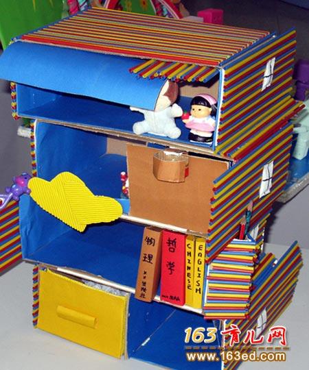 纸盒做的小橱柜_废旧物品手工制作教程