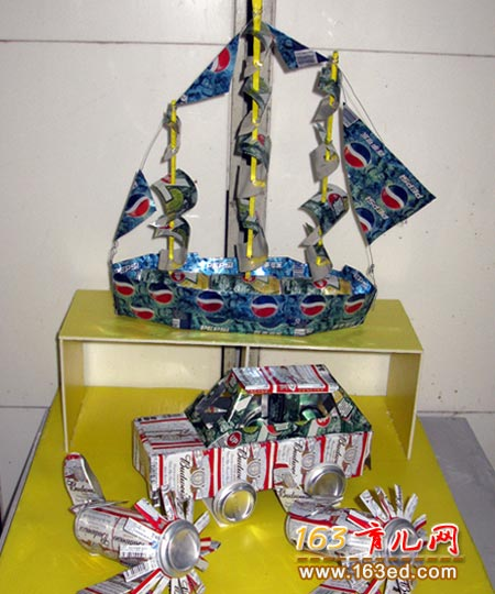 易拉罐做的帆船 废旧物品手工制作教程