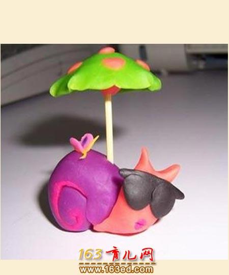 打伞橡皮泥蜗牛_儿童手工制作