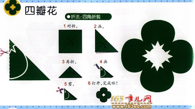如何剪一个四瓣花_幼儿剪纸图解教程
