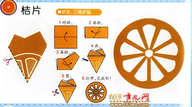 怎样剪桔子片_幼儿剪纸图解教程