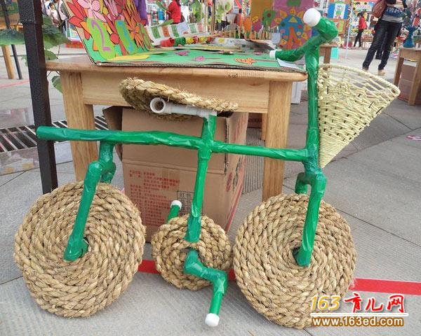 做一个草绳自行车_废旧物品手工制作教程图片