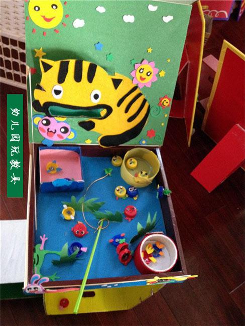 幼儿手工制作 纸盒做的钓鱼池图片