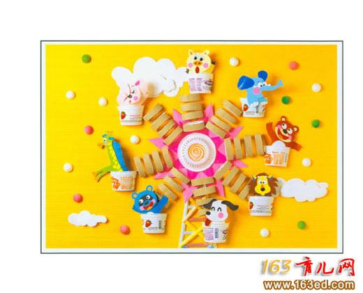 幼儿手工制作:彩纸做的动物转盘