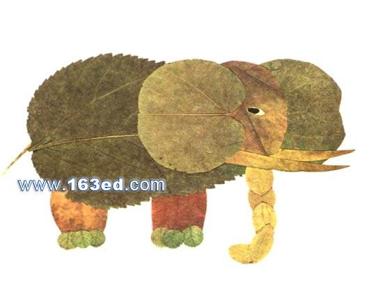树叶粘贴画动物篇:大象-树叶贴画-手工树叶画图片 树叶画图大全,亲