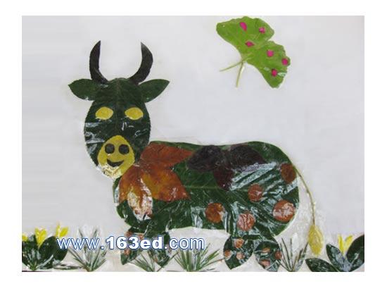 树叶粘贴画动物篇 老牛
