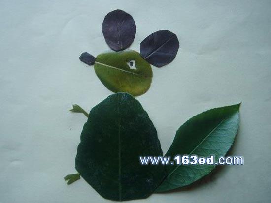 手工简单树叶粘贴画-手工创意 用树叶拼出各种小动物